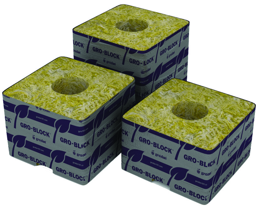 "Grodan Stonewool 4""x4""x3"" Cubes (strip of 6)"
