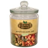 Harvest Keeper Glass Storage Apothecary Jar w/ Sealed Lid - 1/2 Gallon